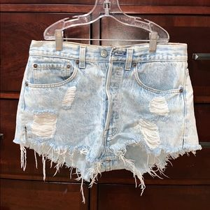 Distressed Jean Levi's Shorts